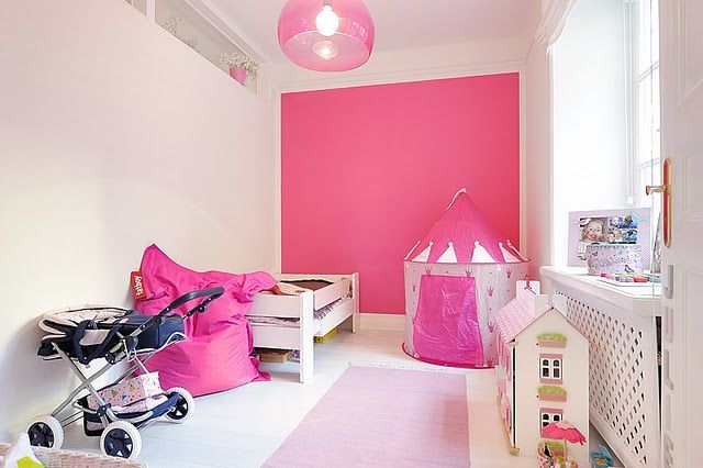 Pink Accent Wall pink! accent wall in any bright color for a playroom | for the