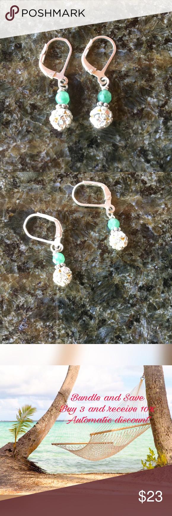 💐Silver Laurie Blann Pierced Earrings Silver pierced earrings with CZs and green beads. Made in Jackson Wyoming.  Like new. Laurie Blann Jewelry Earrings