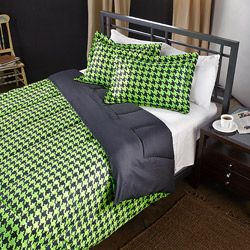 Lime/ Black Houndstooth 2-Piece Twin-size Comforter Set | Overstock.com Shopping - Great Deals on Comforter Sets