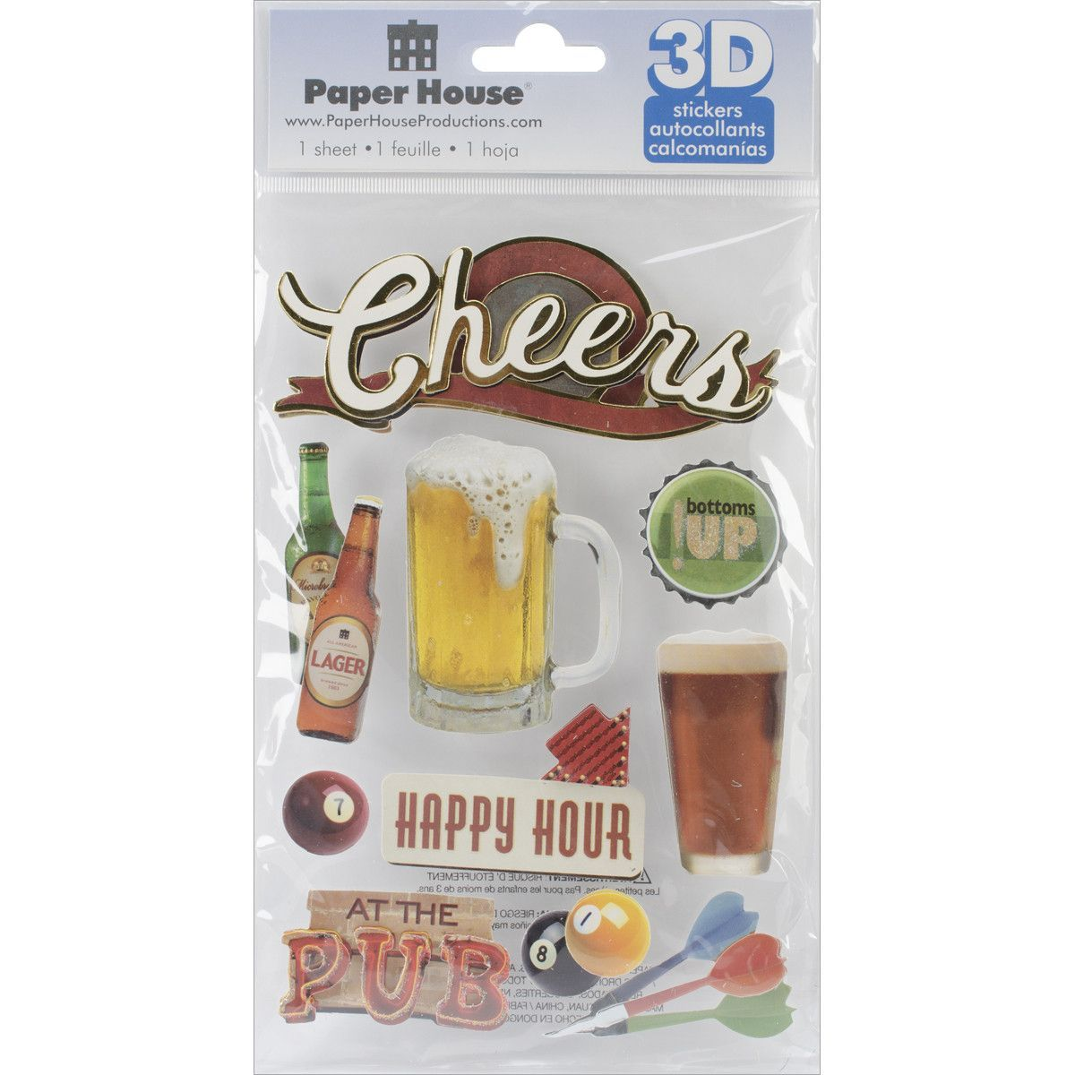 """Paper House 3D Stickers 4.5""""""""x8.5""""""""-Cheers"""