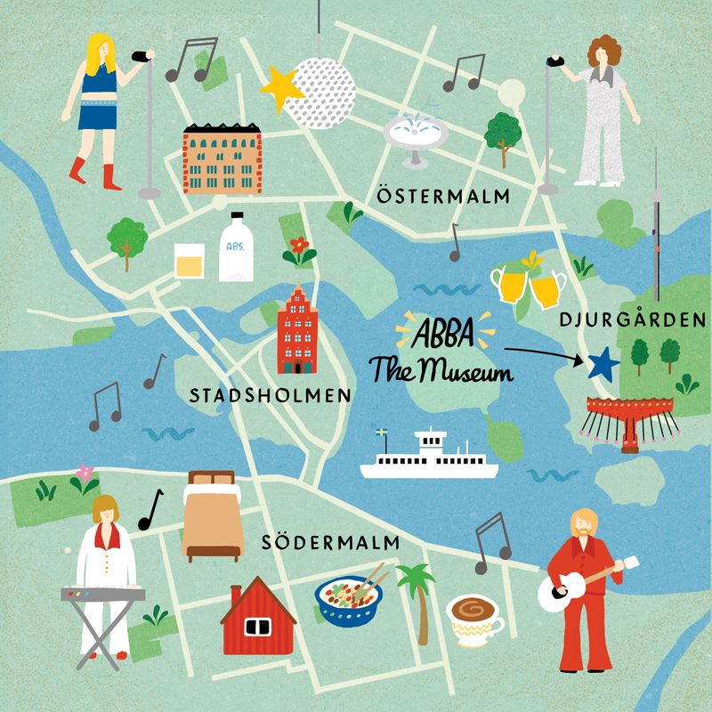 An Abba-heavy Stockholm map for Cara Magazine | Map & Travel ... on