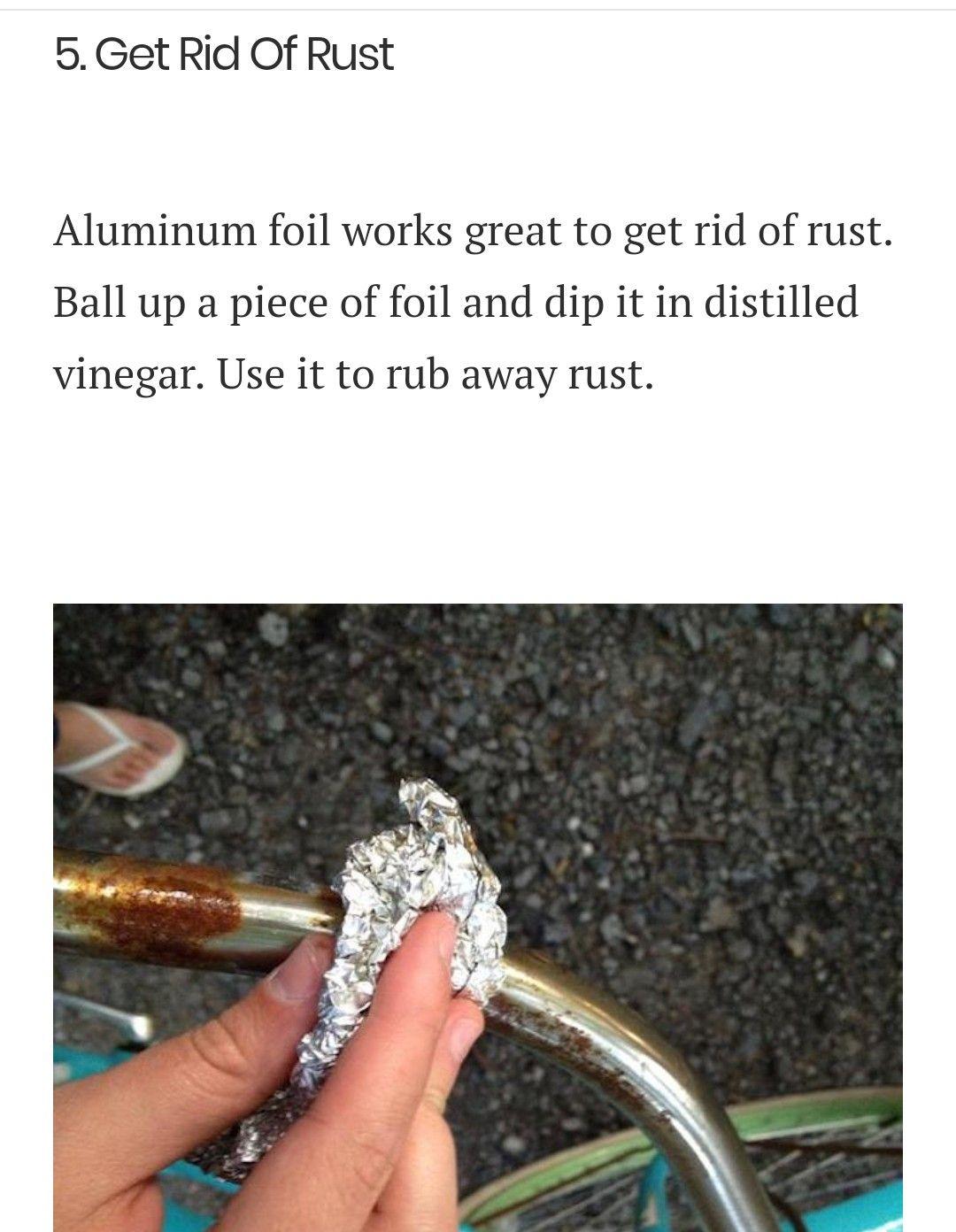 Aluminum Foil Cleans Grill Grates Baking Racks Cast Iron Skillets Add Vinegar To Remove Rust Rusted Cast Iron Skillet Clean Grill Grates Cast Iron Skillet