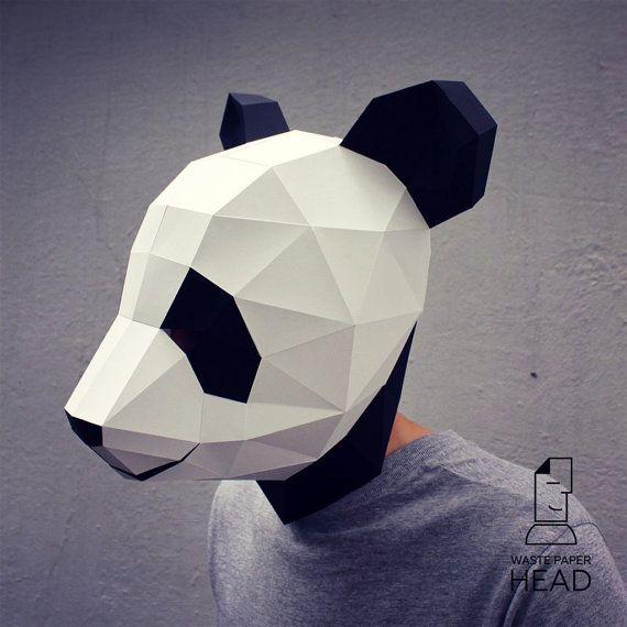 17 papercraft panda mask printable digital template pinterest plantilla de mscara panda impresin de papel por wastepaperhead maxwellsz