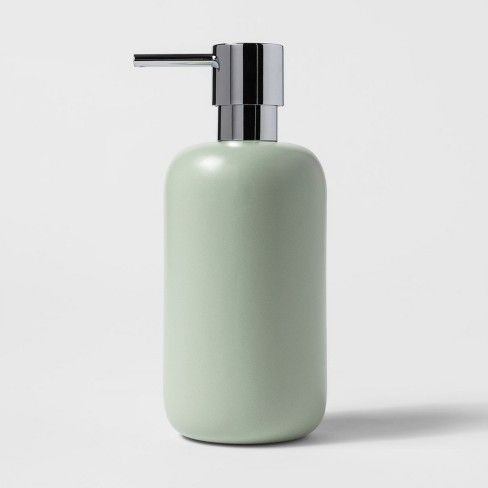 Ceramic Soap Lotion Dispenser Silver Green Project 62 Adult