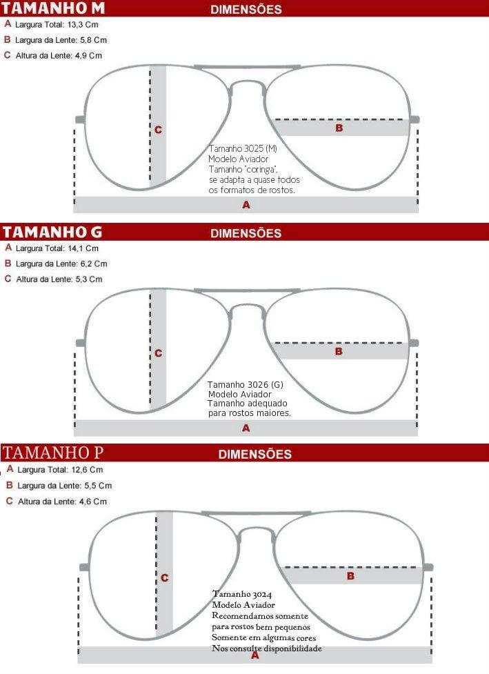 medidas de las gafas ray ban aviator