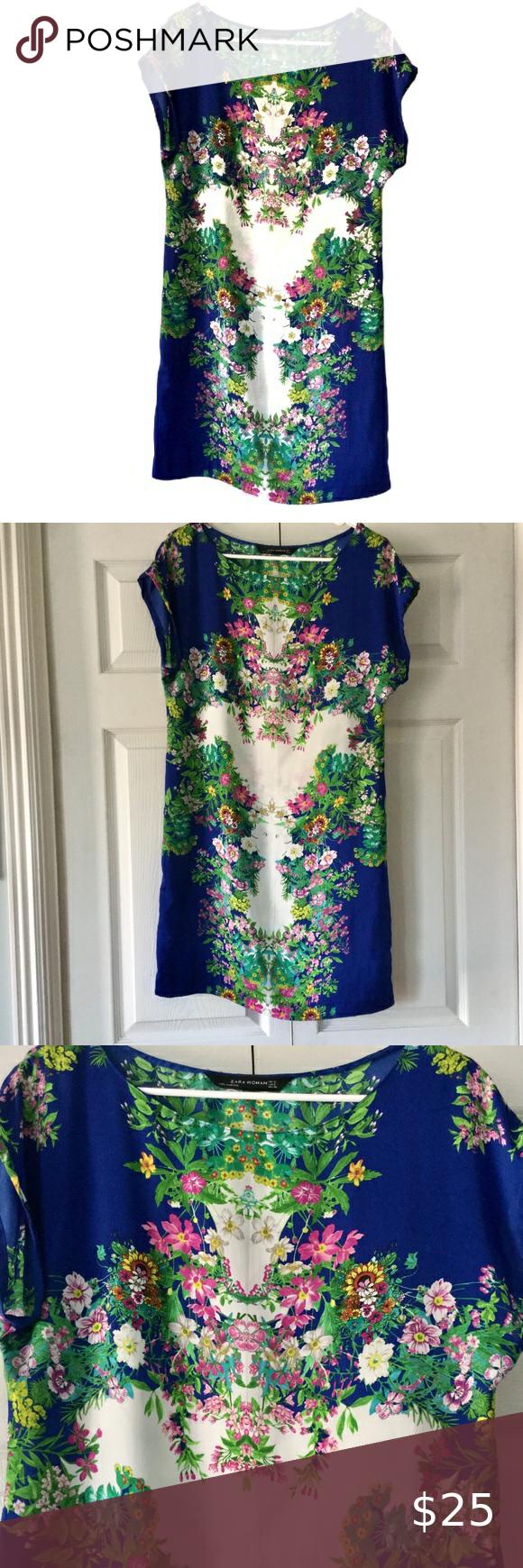 Zara Blue Floral Cap Sleeve Dress Size Sma…