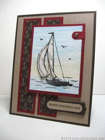 cardscraps.com.  posted 6-19-13 Stamps:  Teeny Tiny Wishes, Sail Away (retired) Paper:  Early Espresso card stock, Crumb Cake card stock, Cherry Cobbler card stock, Whisper White card stock, Naturals White card stock Ink:  Early Espresso ink, Jet Black StazOn,   Other:  Stripes Embossing Folder, Big Shot, Modern Label Punch, Word Window Punch, Silver Brads, Dimensionals, Glue Stick, Paper Snips, Watercolor Pencils