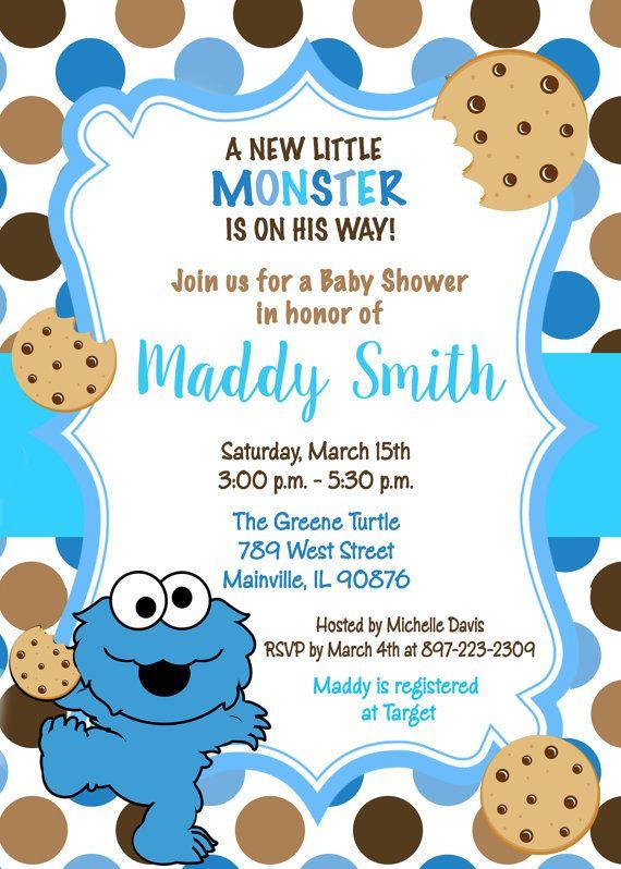 Cookie Monster Sesame Street Baby Shower By Prettypaperpixels Monster Baby Shower Invitations Monster Baby Showers Monster Invitations