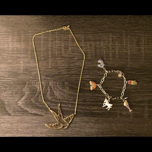 Gold Sparrow necklace & charm bracelet *Necklace & Bracelet* Cute gold sparrow necklace & charm bracelet with unicorn, roller skate, rainbow & milkshake charms Jewelry Necklaces