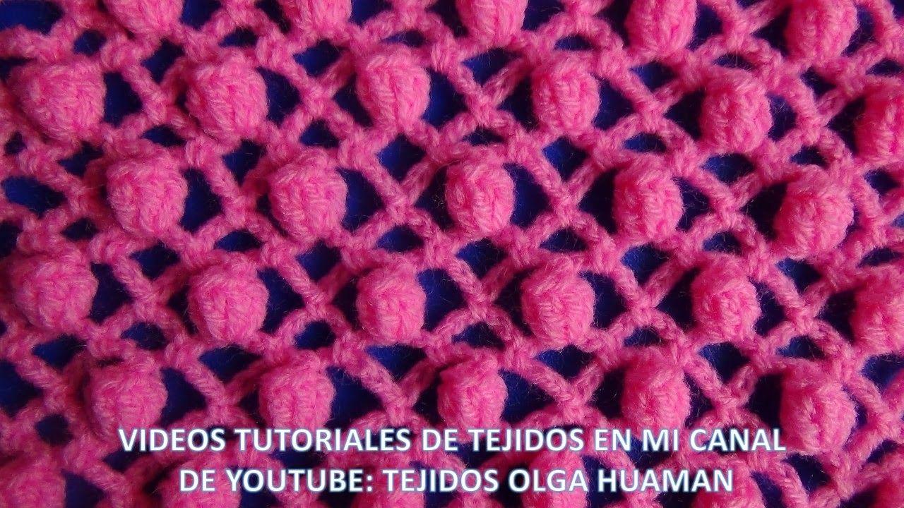 Punto piña tejido a crochet   Crochet   Pinterest   Puntos, Mantas ...