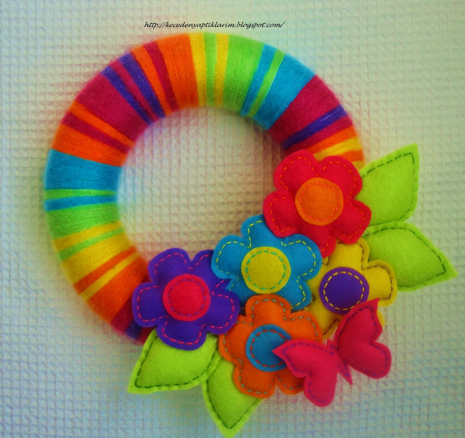 Door Yarn, Felt, Felt Birds, Felt Door Wreath, Felt Ornament,