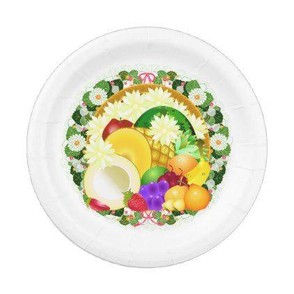 Thanksgiving Fruit Cornucopia Floral Wreath Paper Plate - floral