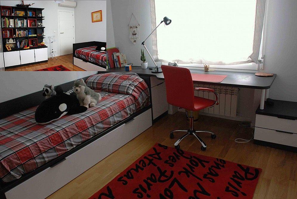 Dormitorio juvenil con una cama nido de dos camas for Escritorio habitacion juvenil