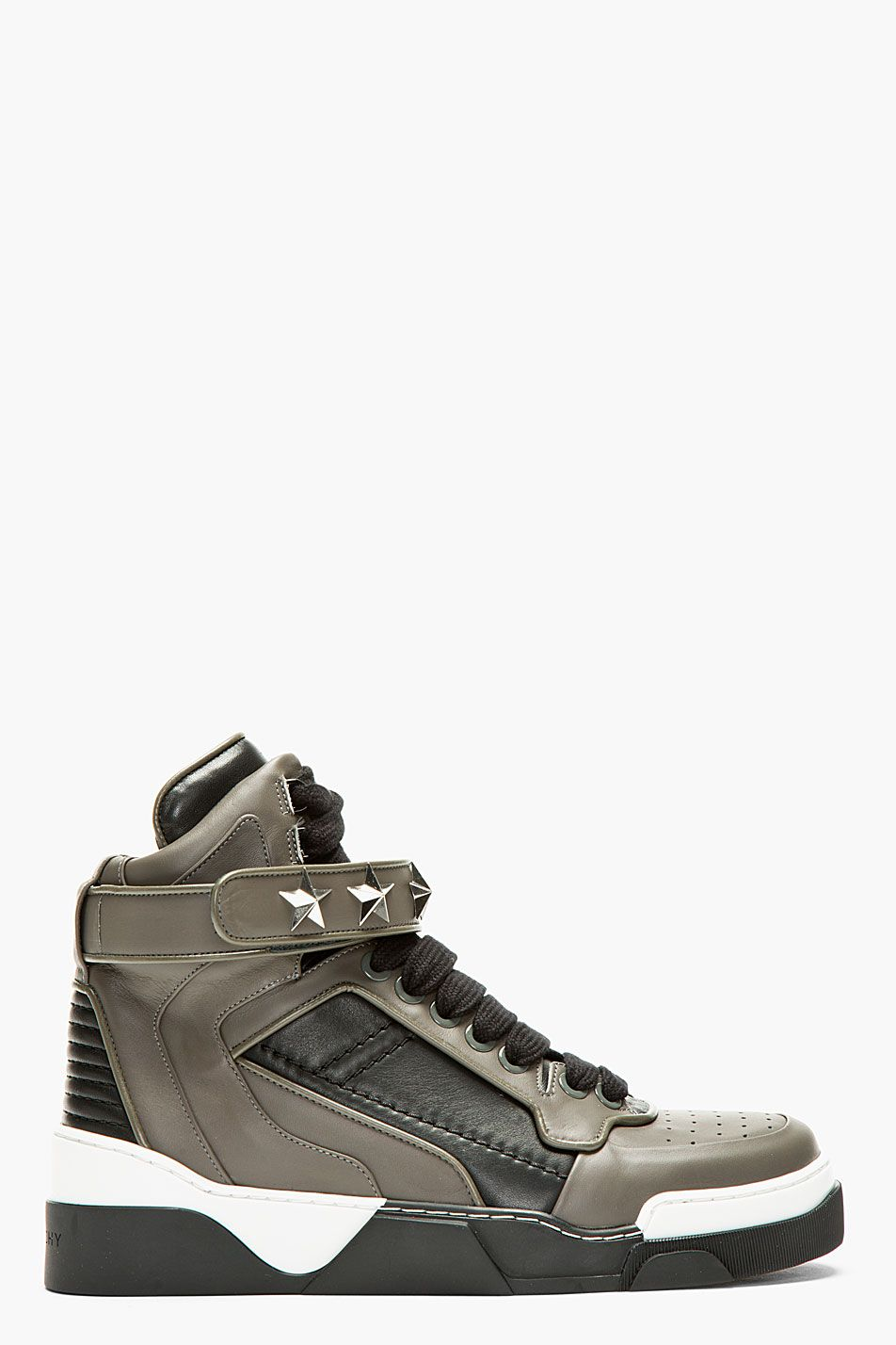 san francisco 5a314 26254 Givenchy Grey   Black Star Studded High Top Sneakers for men   SSENSE