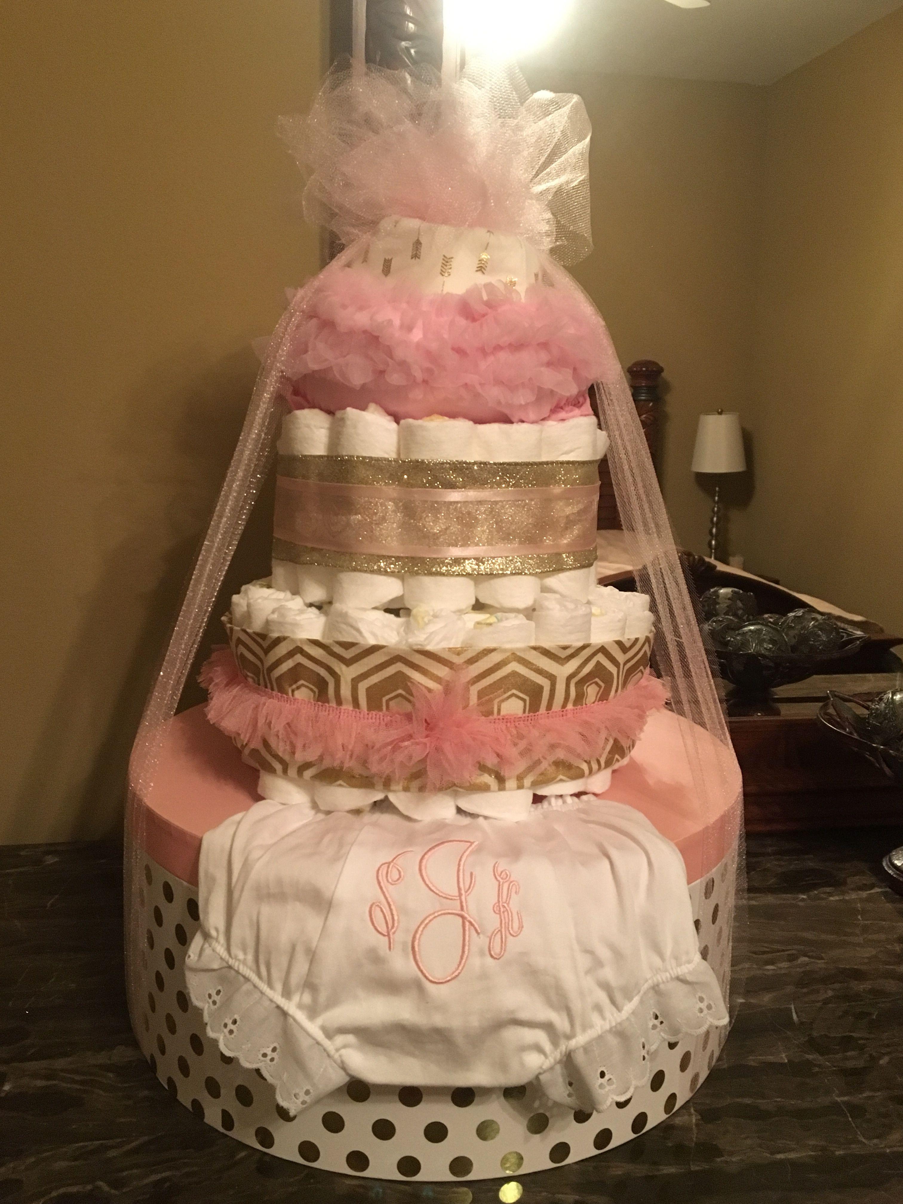 Ballet pink gold diaper cakehat box from hobby lobby