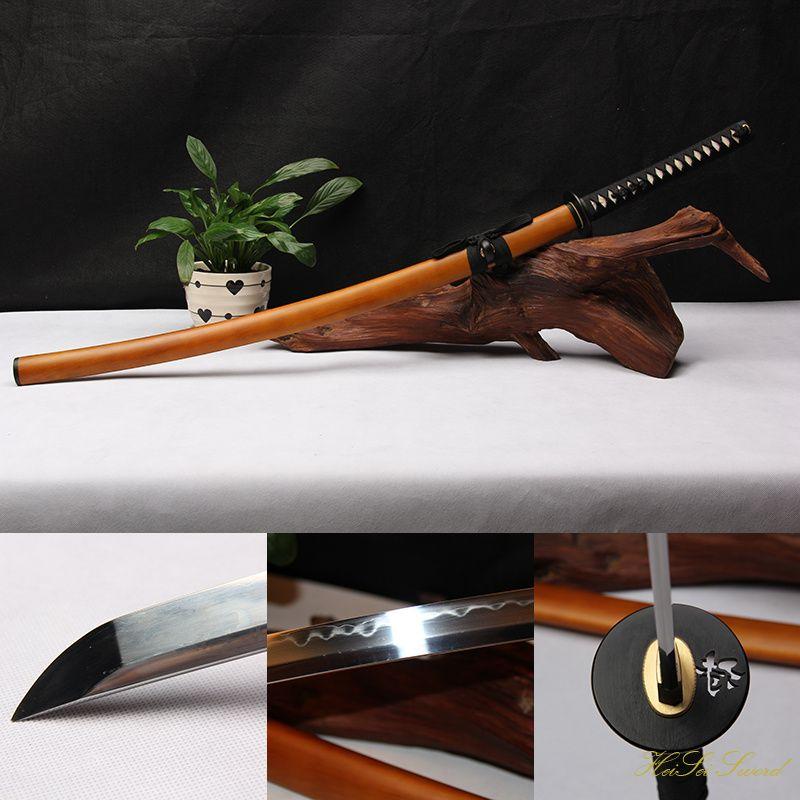 Handmade Katana 1095Carbon Steel Clay Tempered Hard Wooden