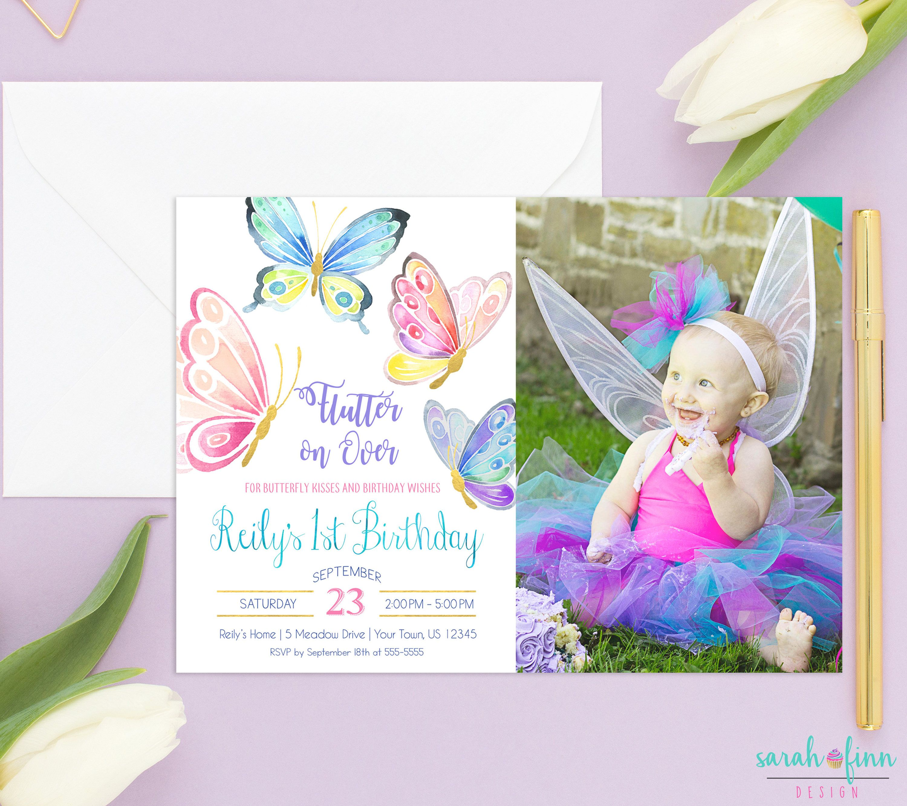 Nice 1st Birthday Butterfly Invitations Ideas - Invitation Card ...