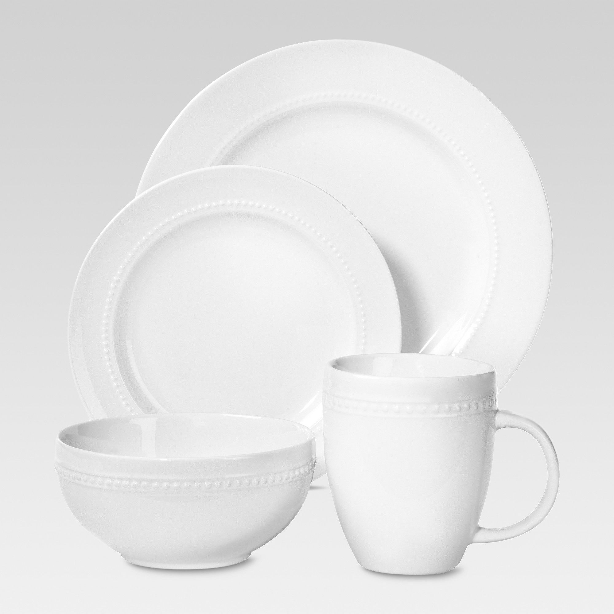16 Absolutely Gorgeous Mediterranean Dining Room Designs: Porcelain 16pc Dinnerware Set White Beaded Rim