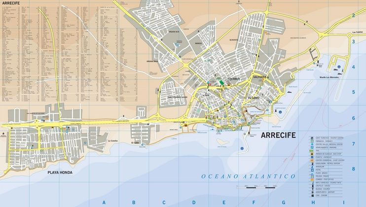 Arrecife tourist map Maps Pinterest Tourist map Spain and City