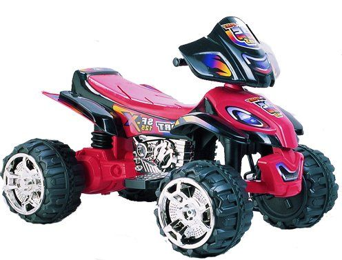 Black with Red Trim ATV with 12 volt Power Ride on 4 Wheeler Quad Motorcycle Car