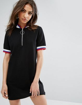 da1ace84cc41c New In Clothing for Women. Daisy Street Mini Dress With Half Zip And Sports  Rib