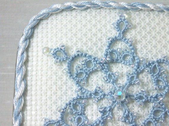 Tatted Snowflake Fiber Art Keepsake -The Blue Ice Crystal Box holiday winter decoration