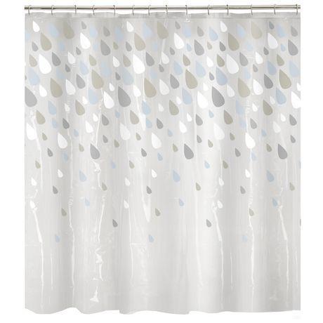 Mainstays Rideau De Douche En Peva Raindrops Blue Shower Curtain