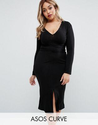 CURVE Deep Plunge Wrap Ties Midi Dress | My Style | Dresses ...