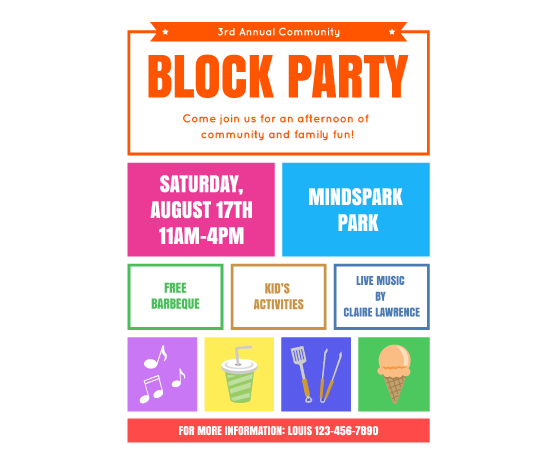 Download This Block Party Flyer Template And Other Free Printables From Myscrapnook Com Party Invite Template Flyer Template Event Flyer Templates