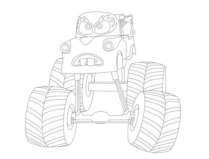Mater Tall Tales Coloring Monster Truck Form  EVERY COLORING PAGE