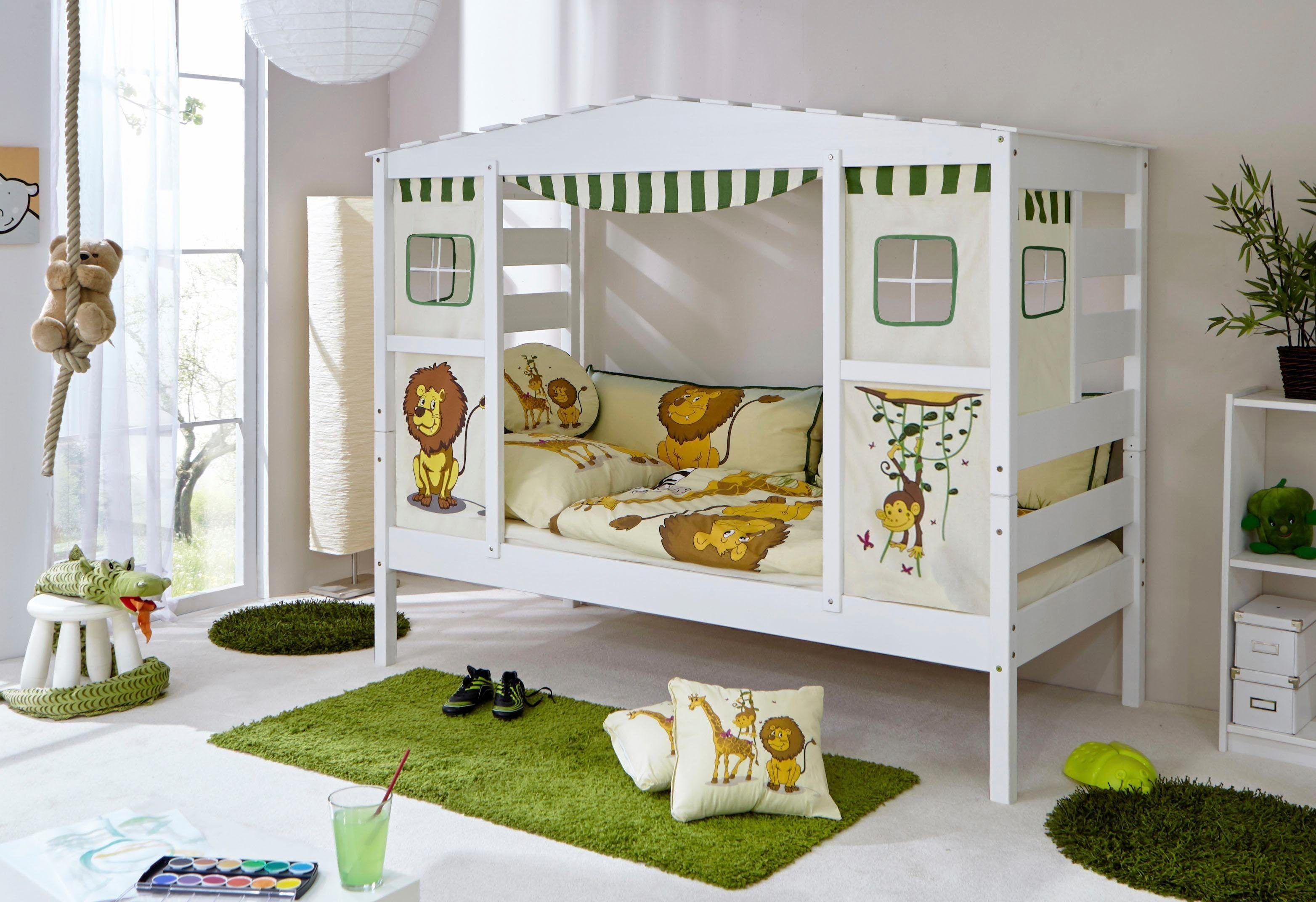Kinder-Hausbett inkl. Dach weiß, Mit Textil-Set »Safari ...
