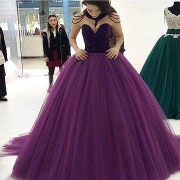 a5f1e1b6331 49%OFF Long Purple Ball Gown Sweetheart Sleeveless Zipper Beading Prom  Dresses 2018 – lolipromdress.com