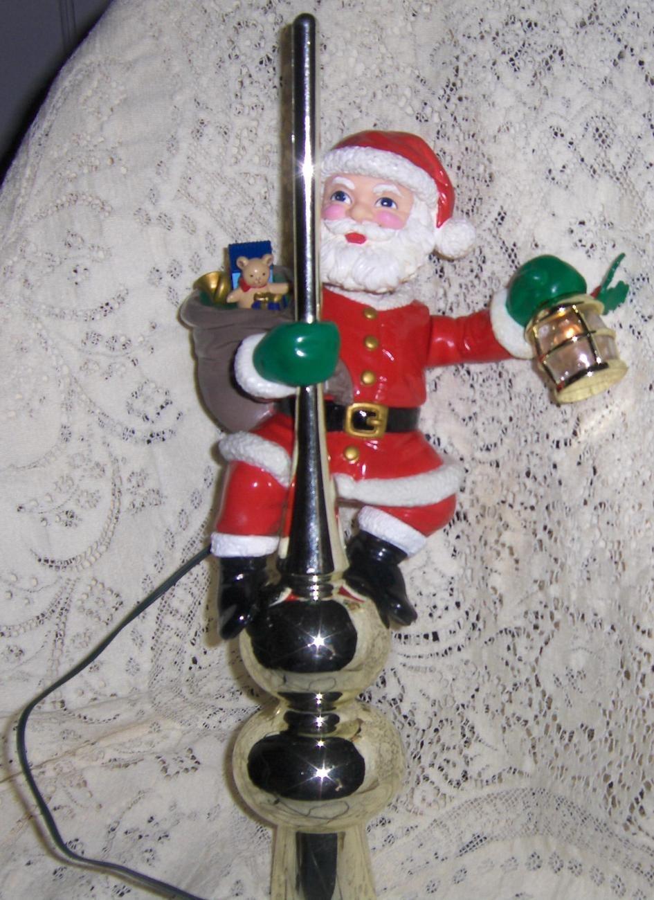 Mr Christmas Animated Santa Lighted Tree Topper 1994 Rare | Bonanza ...