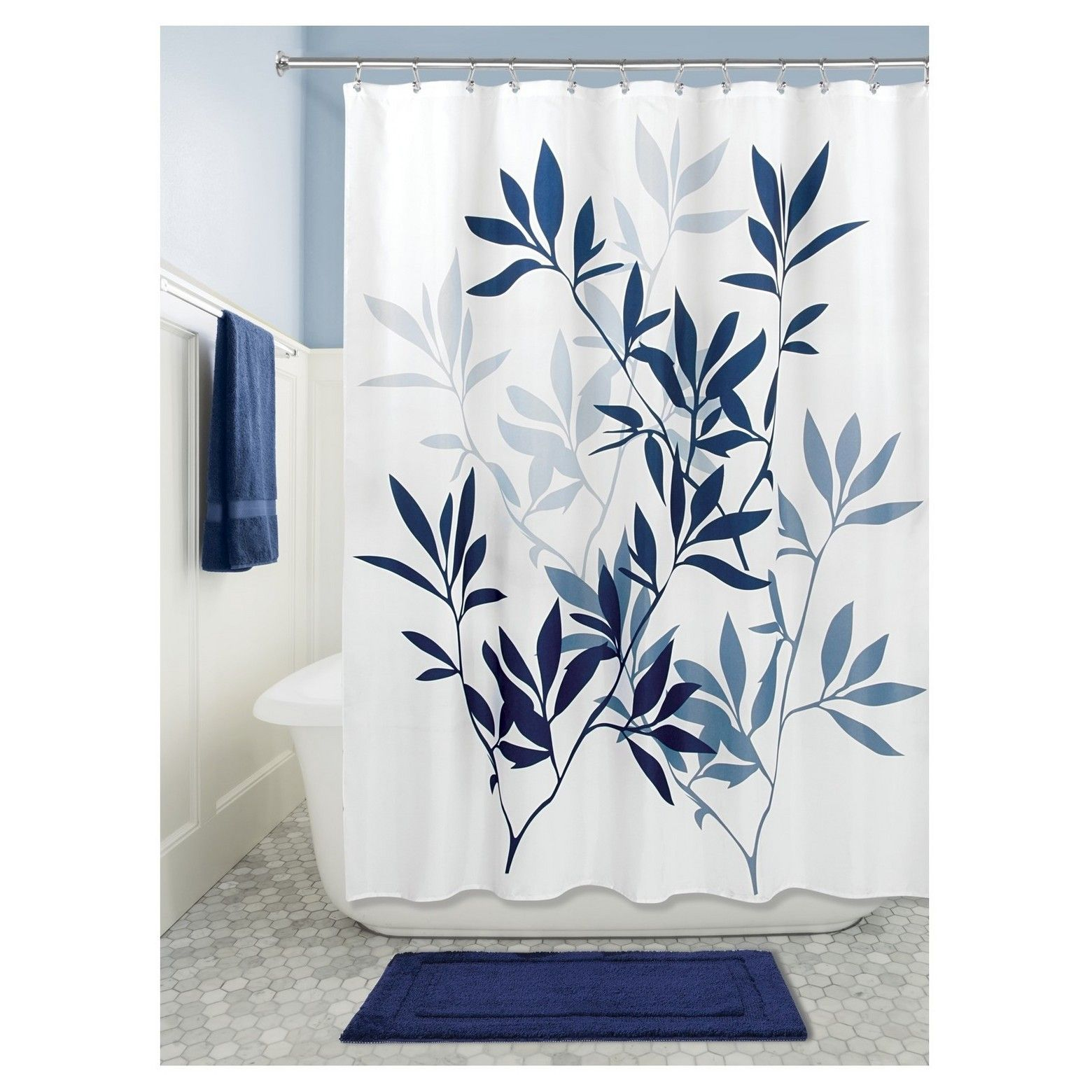 Leaves Shower Curtain Idesign Fabric Shower Curtains White