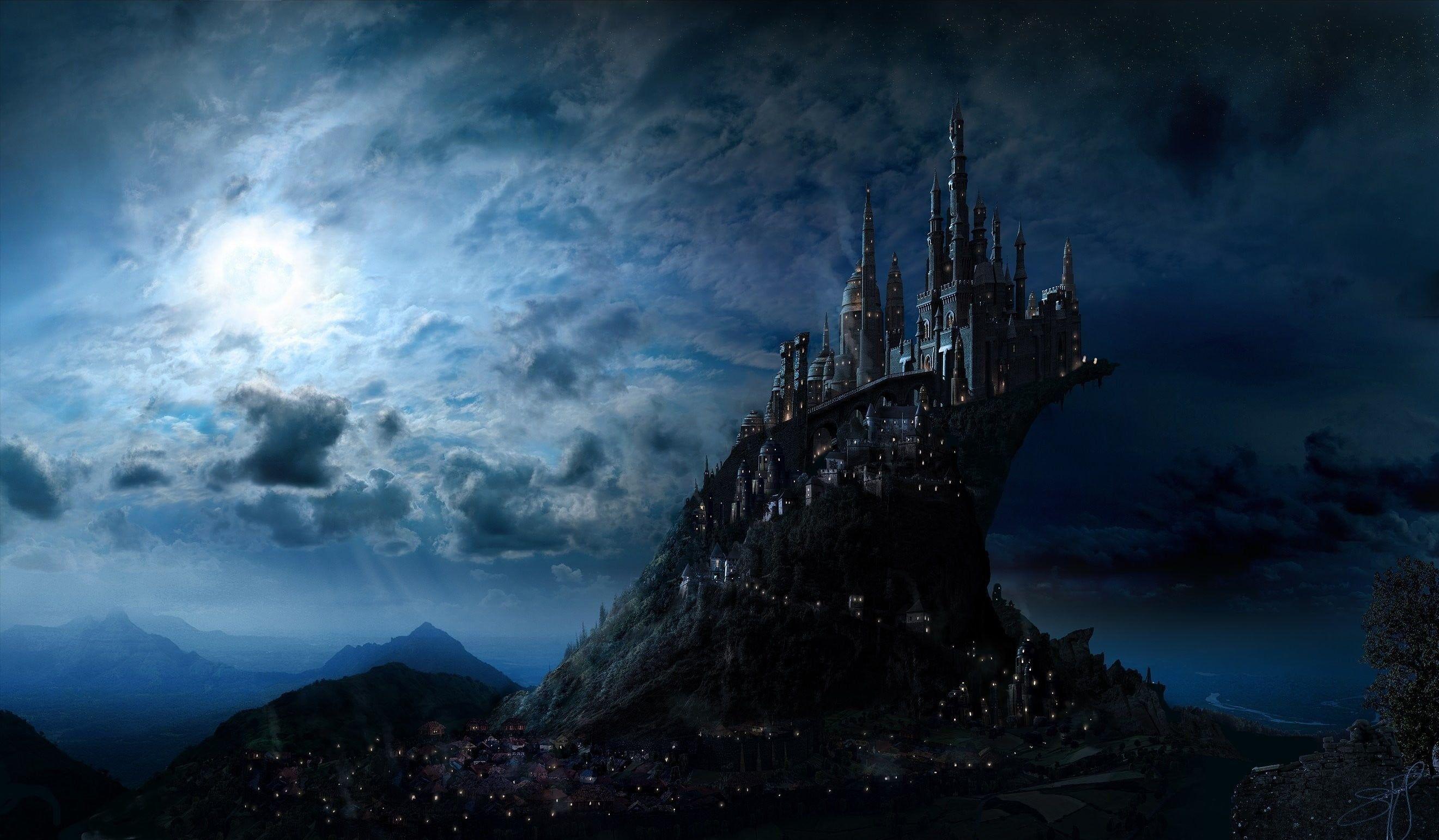 Castle Under Cloudy Sky Illustration Fantasy Art Castle 2k Wallpaper Hdwallpaper Desktop In 2021 Fantasy Landscape Harry Potter Background Fantasy City