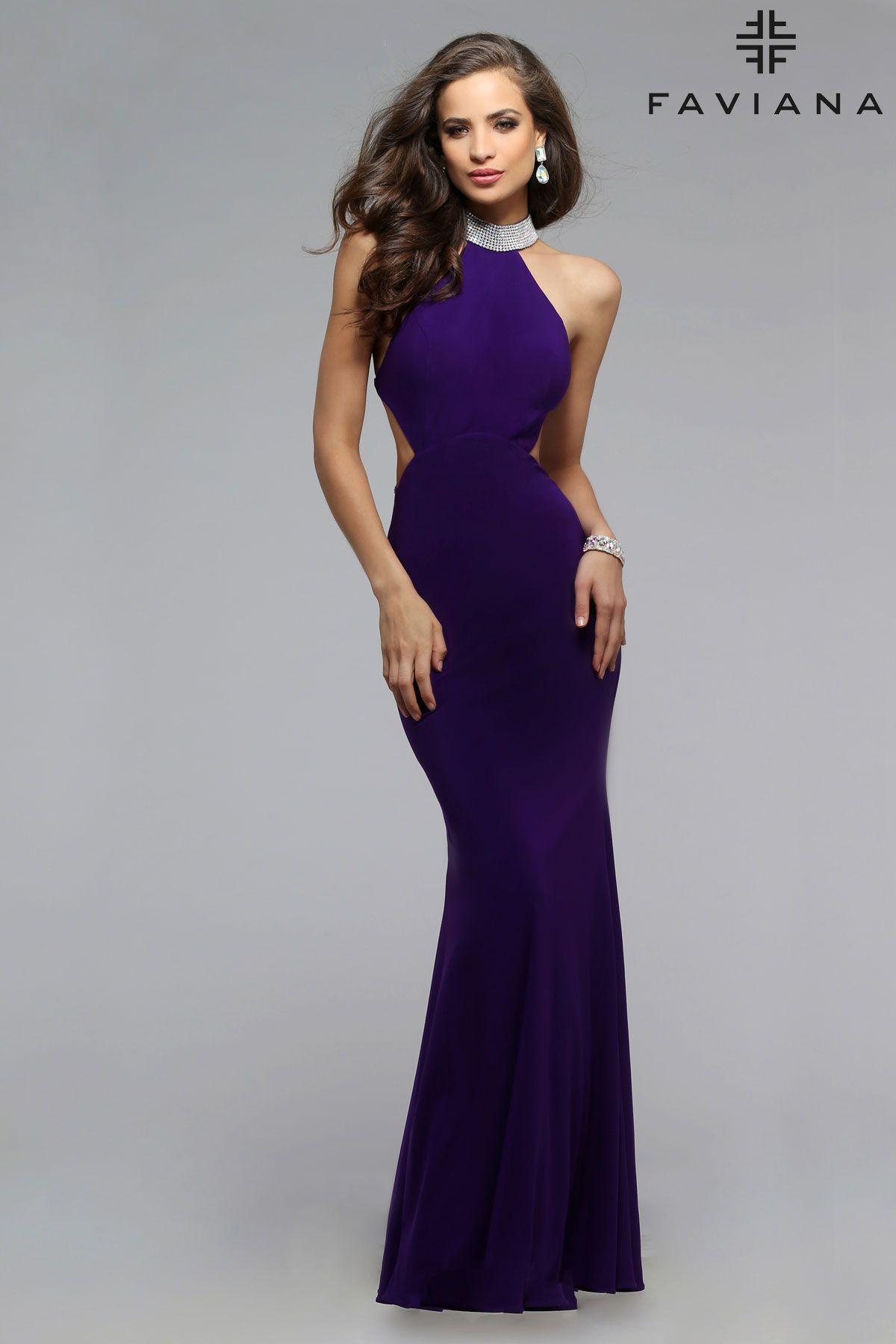 Chiffon jewel neck #Faviana Style 7700 #PromDresses