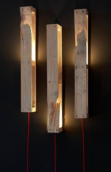 Philippe Daneys Pallet Lights  recyled ideas  Pallet light Pallet Wooden pallet furniture