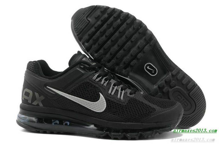 2013 Nike Air Maxes Mens Black Metallic Silver For Sale