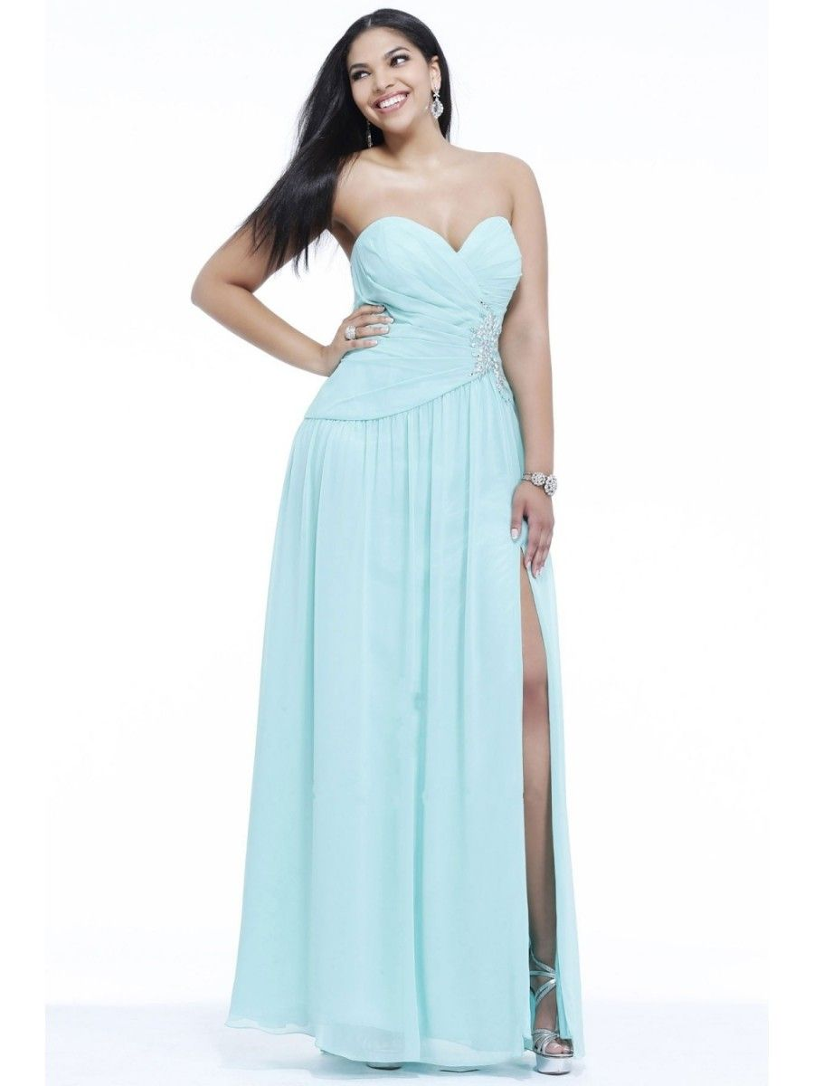 A-line Sweetheart Beaded Floor Length / Long Plus Size Chiffon Prom ...