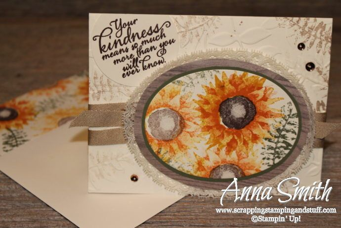 Stampin' Up! card idea   Painted Harvest fall sunflower friendship