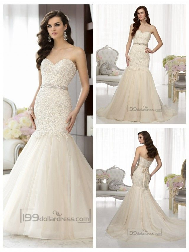 Elegant Sweetheart A-line Lace Vintage Wedding Dresses with Beading ...