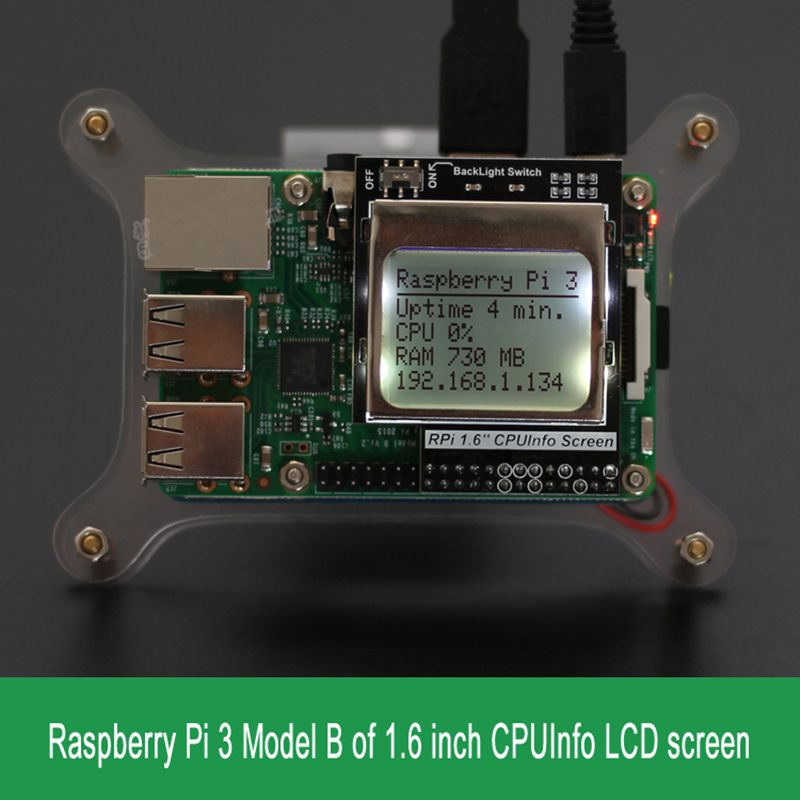 Raspberry Pi 3 Model B CPU Info LCD Screen 1 6 inch 84x48 with
