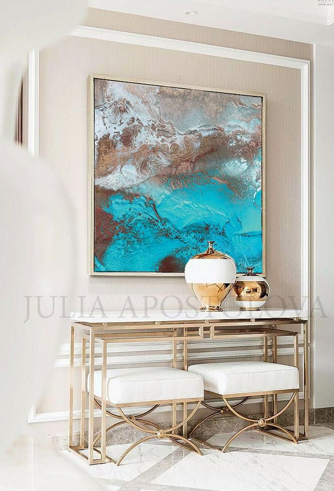 Copper Turquoise Abstract Wall Art Coastal Decor Modern Art