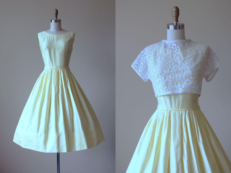 50s Dress - Vintage 1950s Dress - Polished Yellow Cotton Sundress w ...