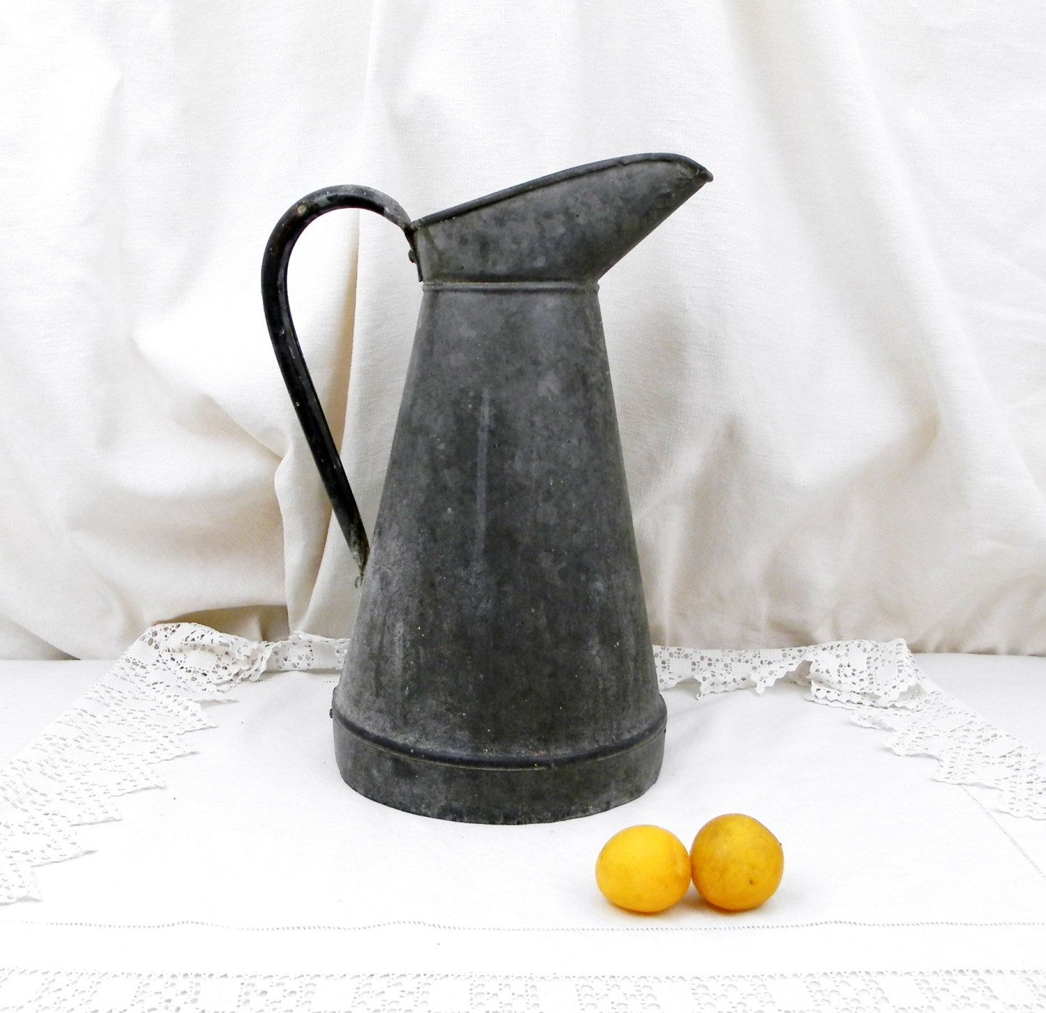 Antique french large zinc galvanized metal water tight pitcher antique french large zinc galvanized metal water tight pitcher jug vase cottage french country decor rustic home shabby chic flower reviewsmspy