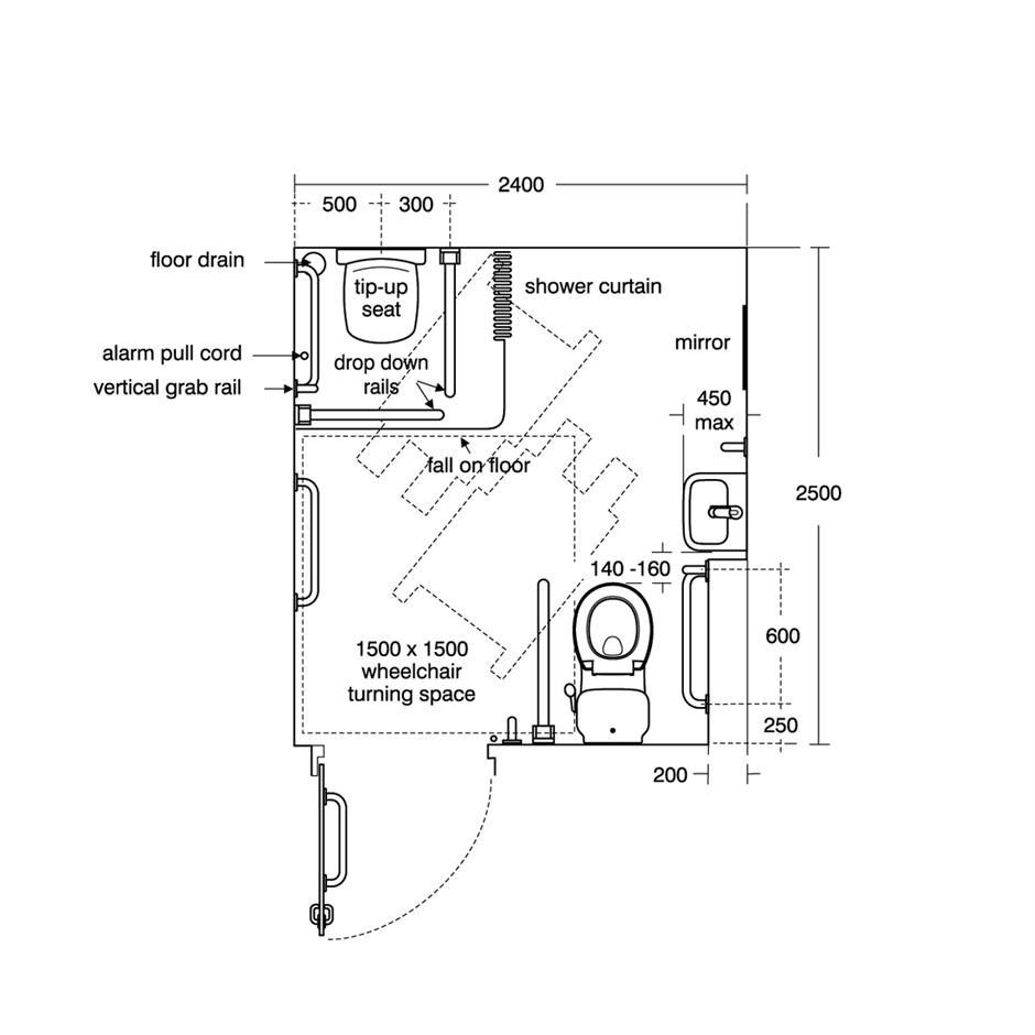 Disabled wet room plan niepe nosprawni pinterest wet for Bathroom dimensions