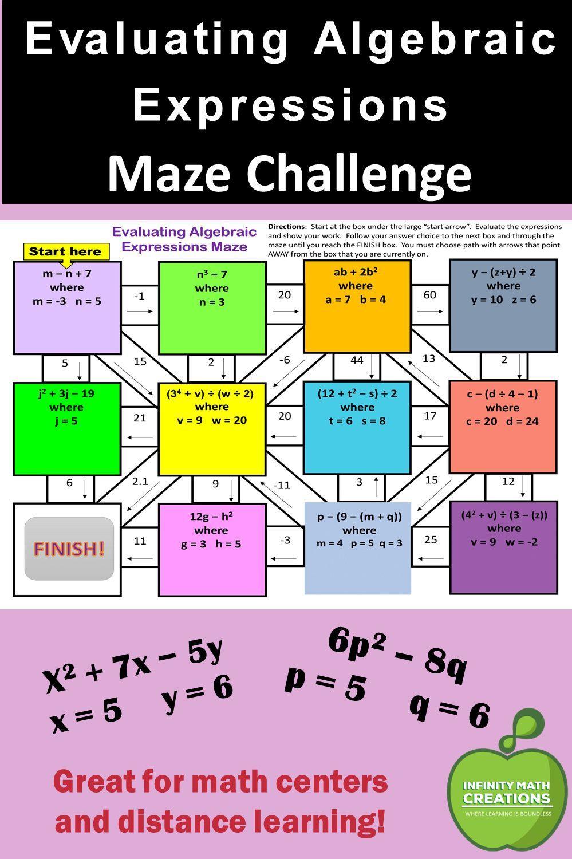 Evaluating Algebraic Expressions Maze Evaluating Algebraic Expressions Algebraic Expressions Evaluating Expressions [ 1500 x 999 Pixel ]