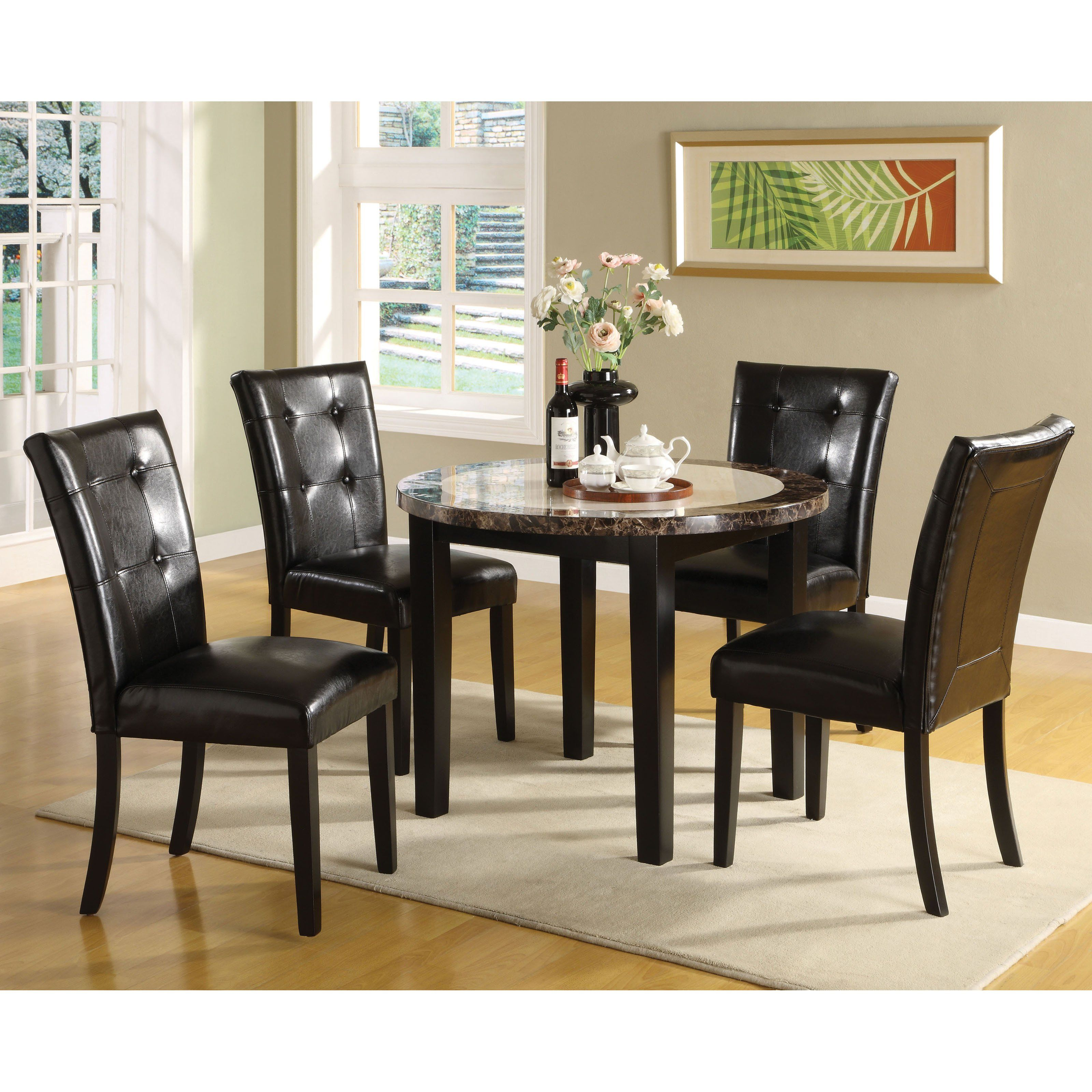 Furniture Of America Laelius 5 Piece Round Dining Table Amp Chairs Set From Hayneedle Round Dining Room Sets Small Dining Room Set Dining Room Table Marble