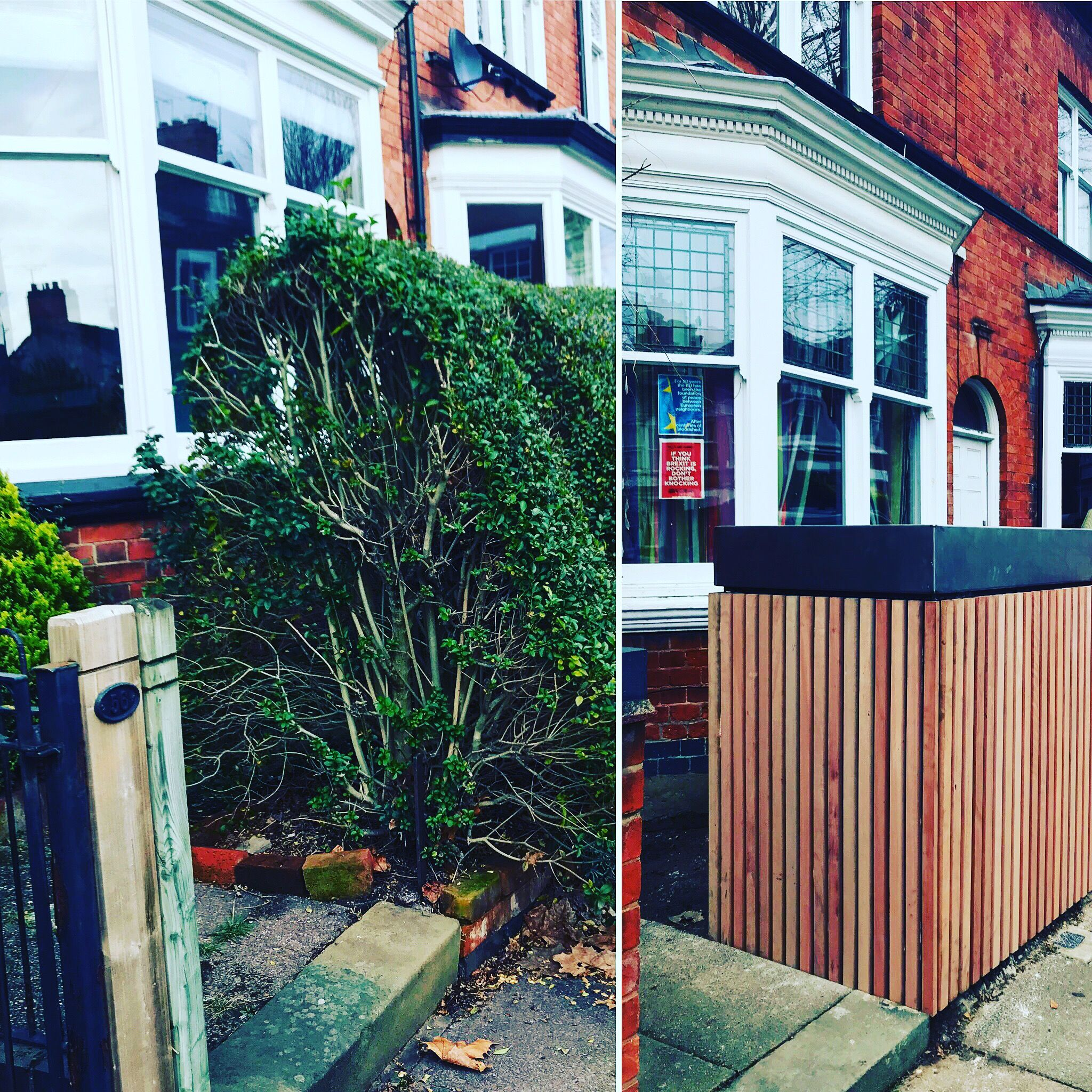 Before And After Of Victorian Terrace House Front Garden With New Bike Storage And Garden Victorian Terrace House Front Garden Front Garden Design Front Garden