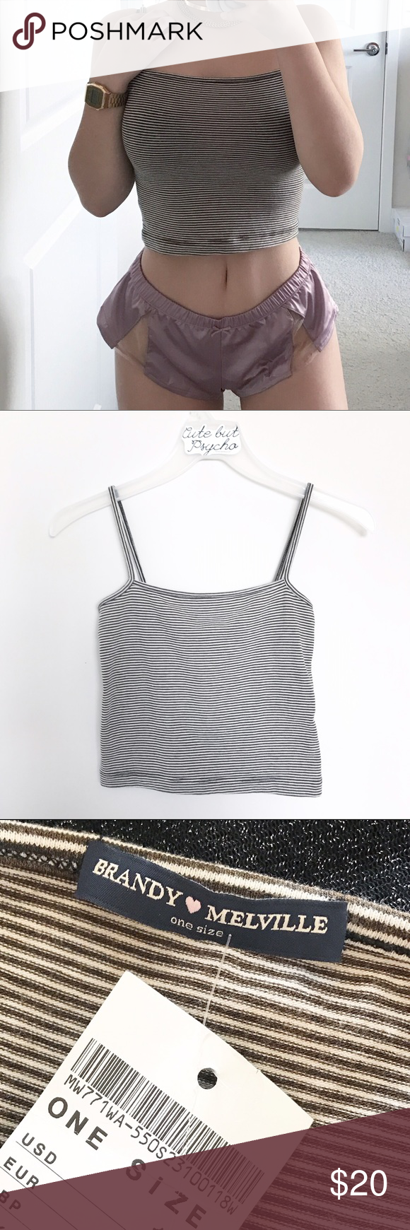 brandy melville faye striped tank top one size, fits S/M best ...